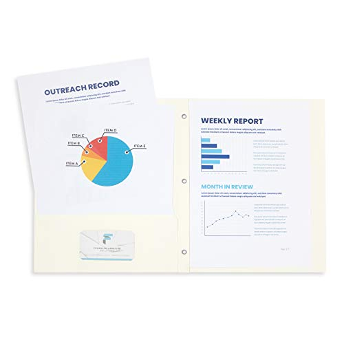 Blue Summit Supplies 25 Two Pocket Folders with Prongs, Designed for Office and Classroom Use, White Ivory, 25 Pack Colored 2 Pocket 3 Prong Folders
