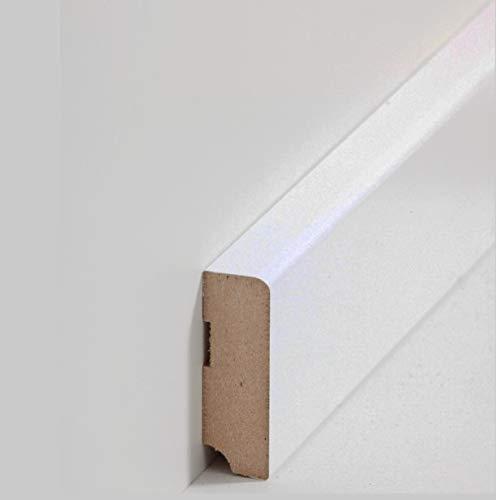 SockelleisteMannheim 58 x 19 mm MDF foliert 720.058 | Fußleiste | Bodenleiste | Profisockelleisten | Weiß