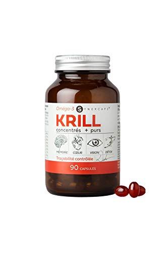 Oméga-3 Huile de Krill Super Pure | Sans poisson = sans odeur | 1180 mg par prise | Riche en EPA DHA | 90 Capsules | Flacon verre | Fabriqué en France | Qualité Synercaps