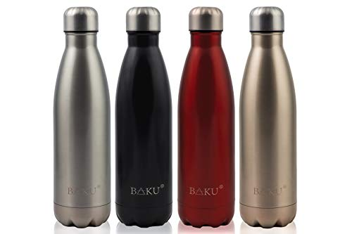 BAKU® Edelstahl Trinkflasche 500ml NEU plastikfrei für Sport, Freizeit, Schule, Camping, Kinder Flasche BPA frei (Silber)