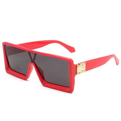 Xniral Sonnenbrillen Brillen Shades Retro Mann Frau Rechteck Rahmen Brillen(Rot)