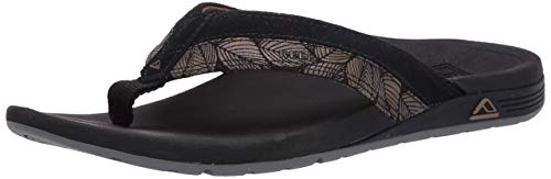 REEF Mens Sandals Ortho-Spring TX | Comfortable Flip Flops for Men with Arch Support BLACK 10 M US