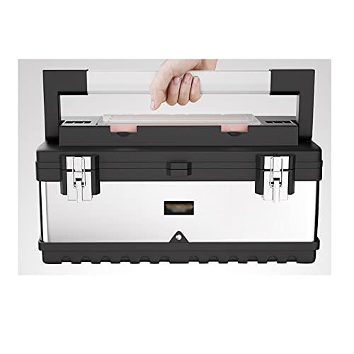 DAGCOT Caja de Herramientas Acero Inoxidable con Organizador extraíble Organizador Mango Largo Top Cofre para la Industria del hogar Hardware o Caja de Almacenamiento de artesanía (Size : 25 Inch)