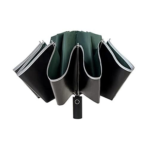 GYY Paraguas invertido a Prueba de Viento Anti-automático Paraguas Plegable Noche Franja Reflectante 10 Ribs Abierto/Cierre Paraguas inverso (Color : E)