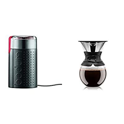 Bodum BISTRO Blade Grinder, Electric Blade Coffee Grinder, Black & Pour Over Coffee Maker with Permanent Filter, 1 Liter, 34 Ounce, Black Band
