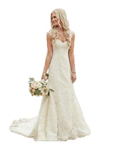 CoCogirls Vestido de novia, de encaje sencillo, largo, de sirena, sexy, para la playa, vestido de...
