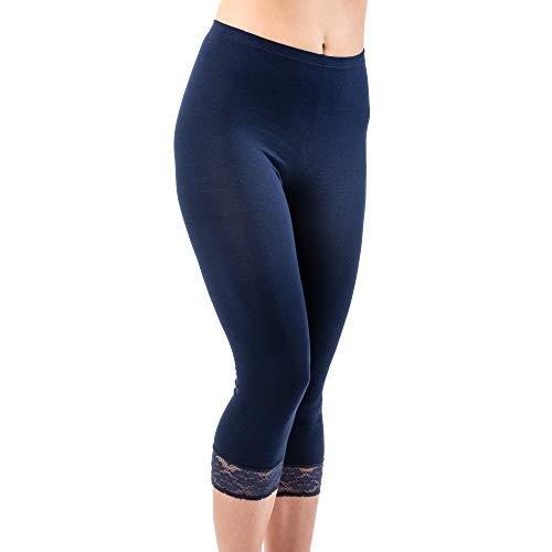 HERMKO 5722 Damen Capri-Leggings mit Spitze, Farbe:marine, Größe:36/38 (S)