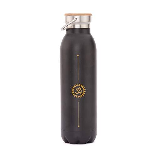 Bodhi Elegante isolerende drinkfles van roestvrij staal, krasbestendig, lekvrij, 600 ml, met yoga-design motief bedrukt, perfect voor hot yoga en yoga festivals