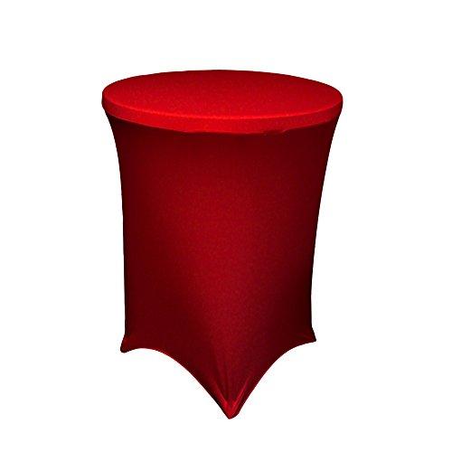 LA Linen Funda de Licra para Mesa de cóctel de Bar, 36 Redondos de 100 cm de Alto, Rojo, Microfibra poliéster, 76,2 x 91,44 x 0,4 cm