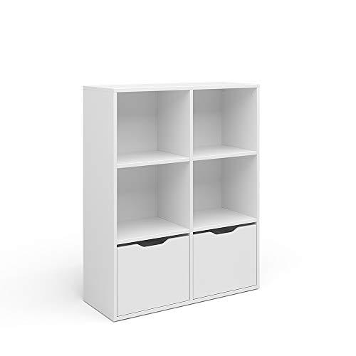 Vicco Raumteiler Bücherregal Standregal Ruben weiß 6 Fächer 2 Schubladen Regal