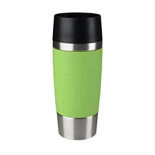 Emsa 513548 TRAVEL MUG, Mug isotherme fermeture par pression Quick Press, 100% hermétique, silicone, 360 ml, Limette