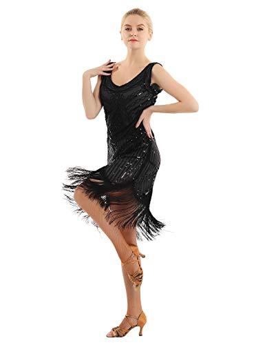 YiZYiF Damen Flapper Abendkleider Glitzer Kleid Retro 1920er Jahre V Ausschnitt Fransen Gatsby Pailletten Midikleid für Abschlussball Cocktail Party Partei Schwarz XX-Large