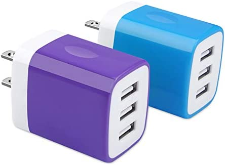 USB Charger Plug Hootek 2Pack 3 1A 3 Multi Port USB Wall Charger Brick Adapter Charging Block product image