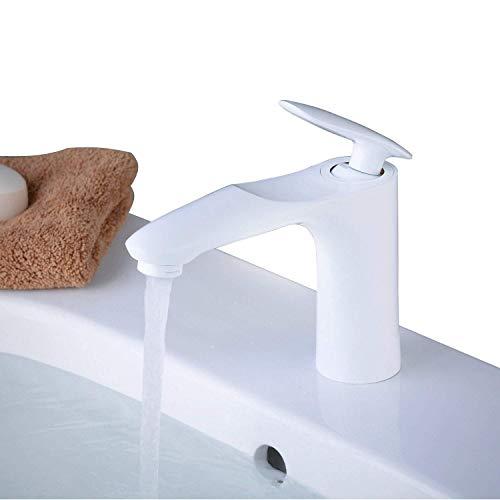 YLLN Grifo Mezclador para Lavabo en el baño, latón Macizo, Pintura Blanca, W