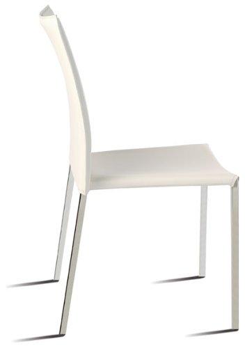 Sidney blanca Silla acero inoxidable apilable tapizada polipiel imitación cuero para comedor, cocina, dormitorio, balcón , terraza interior,habitación juvenil, dormitorio, hostelería . 1 unidad