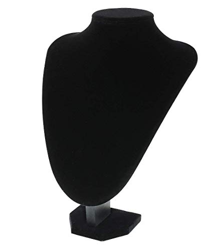 MINGZE Soporte de exhibición de la joyería, busto expositor, soporte del soporte de la exhibición del busto de la cadena del colgante del collar del terciopelo negro, mide la altura de los 22cm, anchu