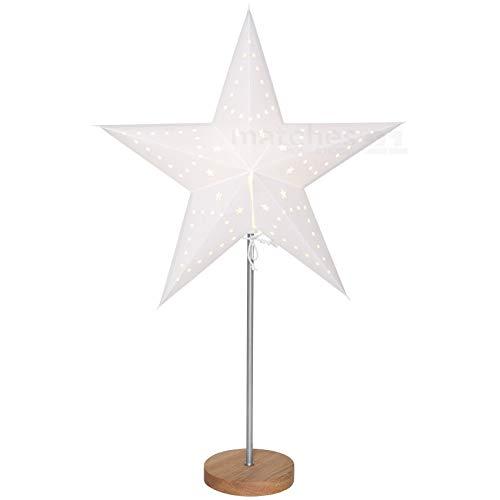 matches21 kerstster kerstverlichting hout staander mat papier wit & natuur uitgestanste sterren 65 cm / 230 V