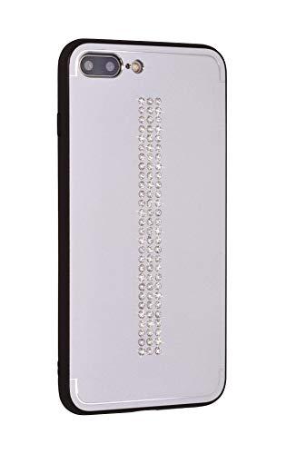 iShield Cover Lux per iPhone 7 Plus/8 Plus, Line con *81* Cristalli Swarovski. Custodia Ibrida in Alluminio Satinato con Telaio in TPU Soft-Touch. (Line Silver)