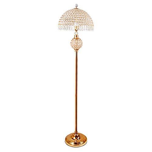 Esquina lámpara de cristal de piso - Lámpara de pie moderna simple con cristal K9 Ronda pantalla, Personalidad boda creativa Lámpara creativa lámpara de cabecera de Oro