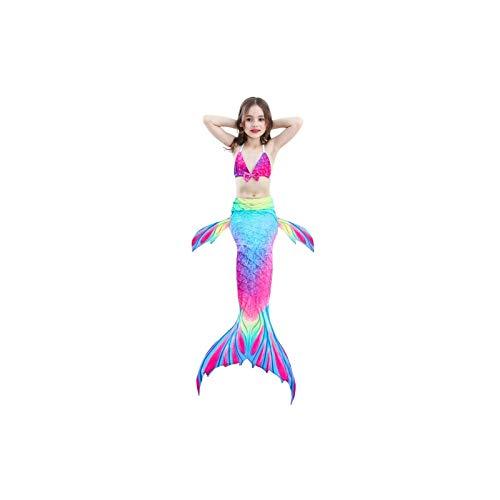 Swimwear 3 PCS/Sets Enfants Maillots de bain Queue de sirène Bikini Cosplay sirène, Taille: 110 (Magenta + Bleu)