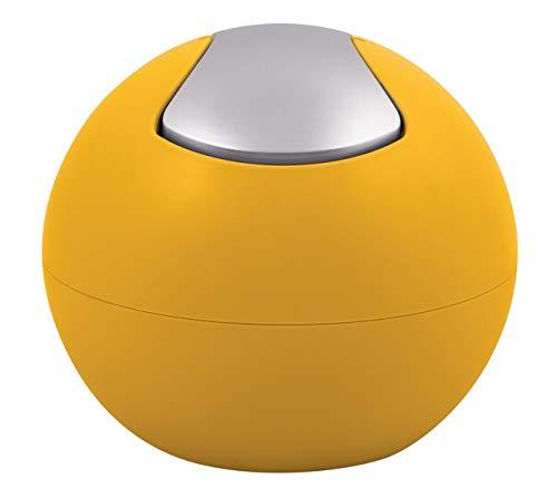 Spirella Kosmetikeimer 1 Liter Abfalleimer Schwingdeckeleimer Tischabfalleimer Bowl Sun Gelb matt