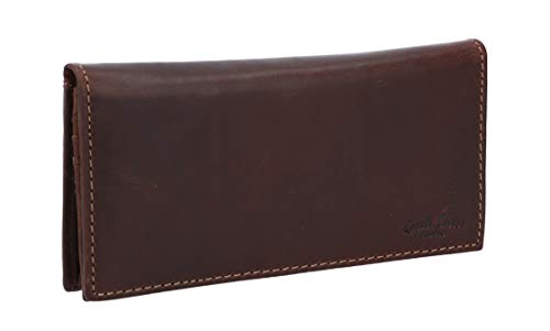 """Portafoglio Gusti Leder Studio - """"Pia"""" portafoglio da donna portamonete portacarte in vera pelle in stile vintage marrone scuro"""