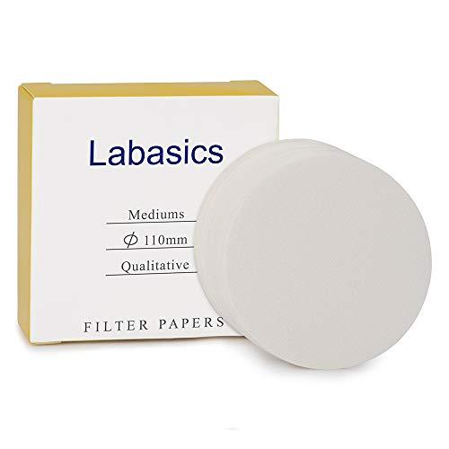Labasics Círculos de Papel de Filtro Cualitativo, Papel de Filtro de Celulosa de 110 mm de Diámetro con Velocidad de Filtración Media de Retención de Partículas de 20 Micrones, Paquete de 100