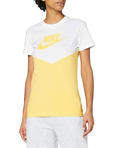 NIKE Hrtg Top - Camiseta para Mujer, N'est Pas Applicable, Mujer, Color White/Topaz Gold/Topaz Gold, tamaño XXL