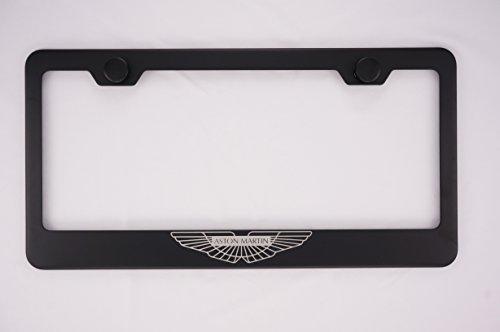 Fit Aston Martin Logo Laser Engraved Matt Black License Plate Frame with Caps