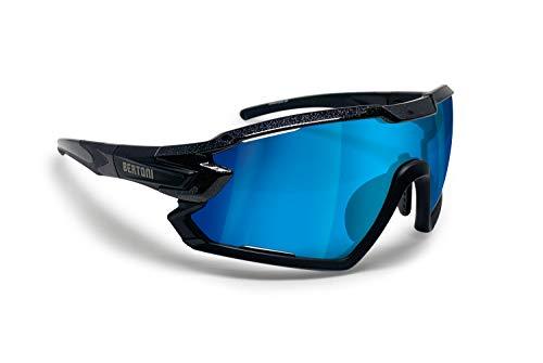BERTONI Gafas Ciclismo Running MTB Esquí Tennis Padel Polaridas Fotocromaticas mod. Quasar (Negro/Espejo Azul)