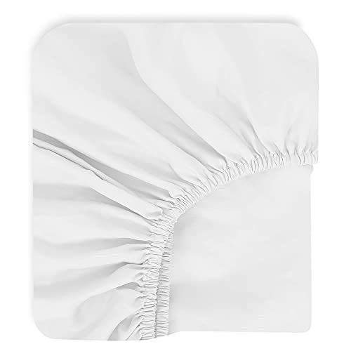 """TILLYOU Microfiber Fitted Crib Sheets for Baby Boys Girls, Super Soft Toddler Bed Sheets for Standard Crib and Toddler Mattresses, Premium Cozy Nursery Bedding Sheet, 28""""x52""""x8"""", White"""