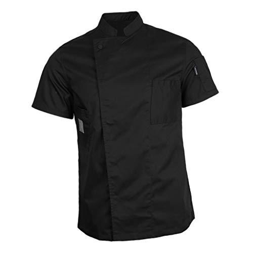 IPOTCH Ristorante Uniforme Chef Giacca Manica Corta Cameriere Cappotto Hotel Cucina Camicia Unisex - Nero, L