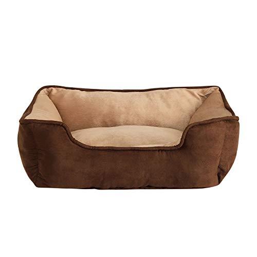 dibea 2-in-1 Hundebett Hundekissen Hundekörbchen Hundesofa Größe S 60x50 cm Farbe braun/beige