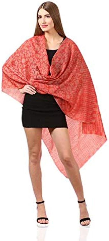 Women's Wool Self Reversible Scarf Floral Jacquard Design, SilkPashmina