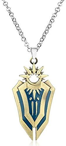 niuziyanfa Co.,ltd League Legends Shield Collar Leona Arma Colgante Collar Cadena Larga Hombres Colecciones de Juegos