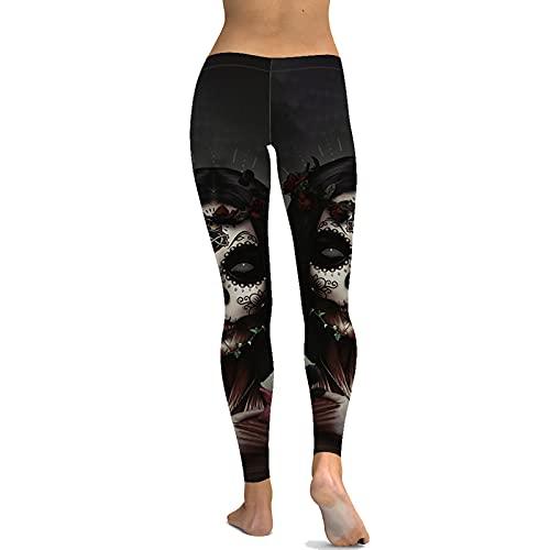 keepwo Leggings con Estampado de Piratas y Calaveras para Mujer, Mallas Negras elásticas de Cintura Alta para Correr, Yoga, Deportes para Mujer