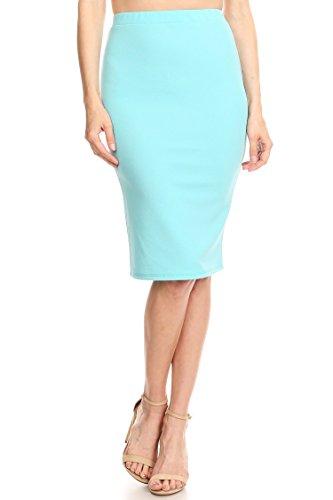HEO CLOTHING Women's Solid Basic Casual Knee High Waist Stretch Bodycon Pencil Skirt Aqua L