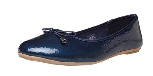 Fitters Footwear That Fits Donne Ballerine Mila Sintetico Ballerine in Vernice con Fiocco (44 EU, Blu Scuro)