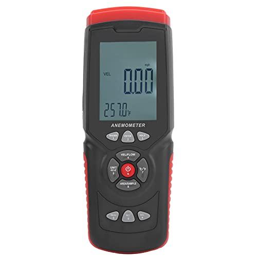 Mxzzand Anemómetro Digital Barómetro GT8913 Anemómetro de Mano Medidor de Velocidad del Viento con Caja de plástico para el hogar Industrial