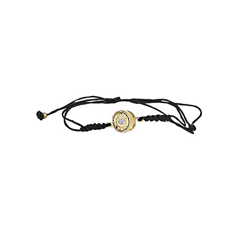 Pulsera Oro Amarillo 18k modelo Bracelets (1 diamante 0,035cts.). Macramé negro