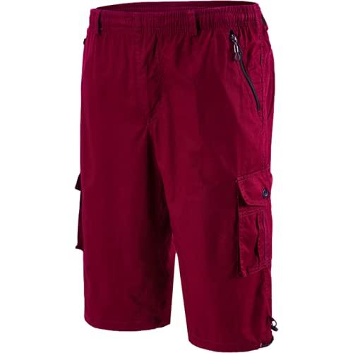 Pantalones Cortos Holgados de Carga de Gran tamaño para Hombre, Moda de Verano, Bolsillos con Cremallera, Pantalones Cortos Deportivos Casuales cómodos con Cintura elástica 3XL