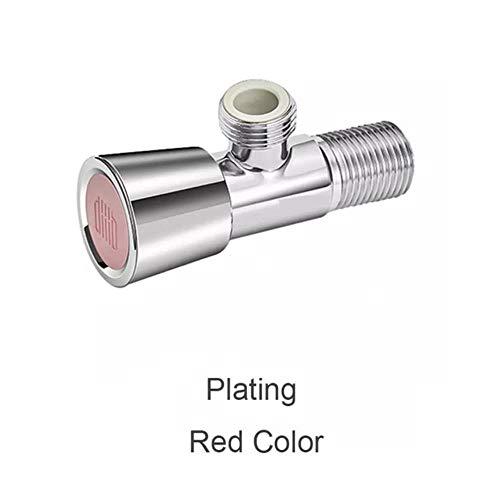 HEHUANG Válvula de triángulo universal Válvula de ángulo Accesorios de baño Válvulas de llenado de electrochapado para calentador de agua de inodoro, enchapado en rojo