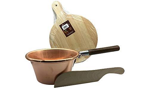 SRM e-Commerce - Cazo de cobre con mango de madera con tabla y cuchillo para cortar polenta