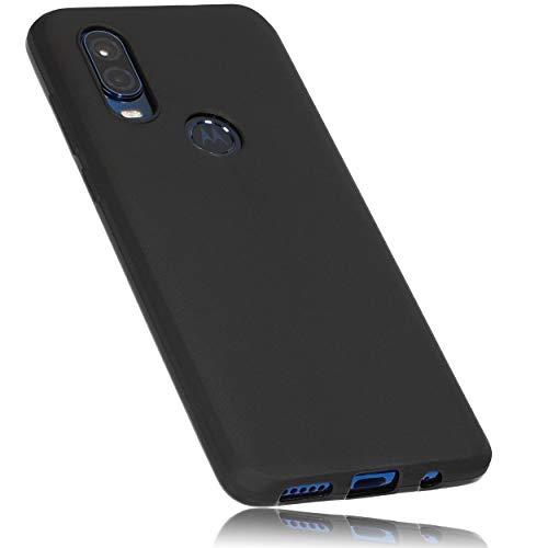 mumbi Hülle kompatibel mit Motorola One Vision Handy Case Handyhülle, schwarz