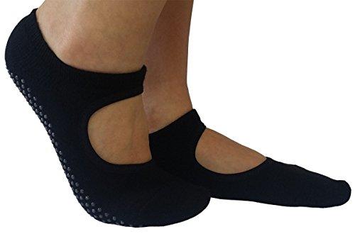 Marchuusu - Pack de calcetines para pies pequeños, yoga, pilates, danza, fitness, antideslizante, de algodón, para niños y niñas, para Reino Unido 3-6, EU 36-39 (negro* 2 pares)