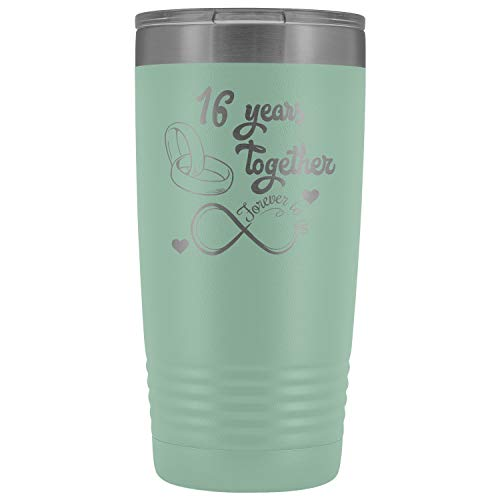 16th Wedding Anniversary Present For Him And Her, Husband & Wife 16th Anniversary Tumbler, Married For 16 Years, 16 Years Together With Her (20 oz, Teal)