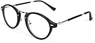 Retro Round Metal Black Frame Eyeglasses Fashion Casual Flat Eyewear for Men