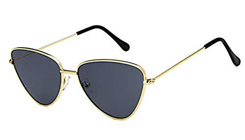 CHICNET Damen Herren Sonnenbrille dreieckig Trend Brille Cateye Cat Eye, 400 UV, Metall, verspiegelt oder getönt grau