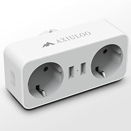 AXIULOO Ladron Enchufes Pared, 4 en 1 Ladron Enchufe Multiple con Doble USB y Enchufe, Adaptador Enchufe Multiplicador Enchufe Compatible con Phone, Oficina, Cocina, Pad