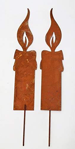 2 Rostoptik Kerzen zum Stecken klein (K24) 24x4,5cm Weihnachten Garten Deko